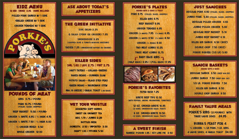 Porkies BBQ Menu